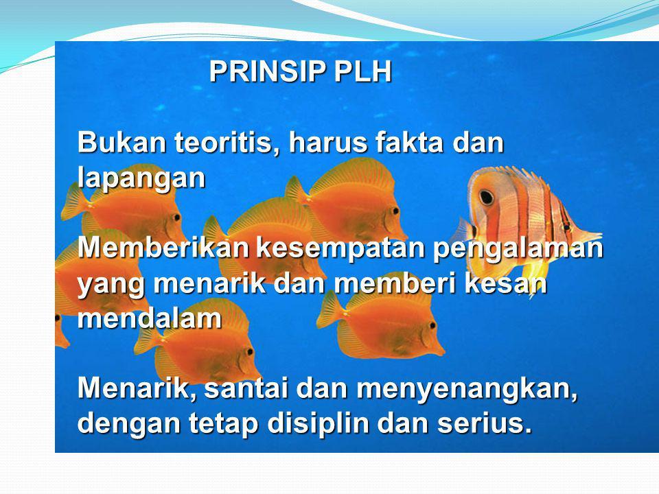 PRINSIP PLH Bukan teoritis, harus fakta dan lapangan. Memberikan kesempatan pengalaman yang menarik dan memberi kesan mendalam.