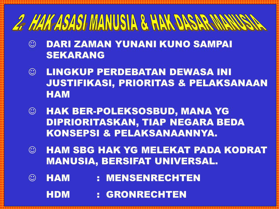 2. HAK ASASI MANUSIA & HAK DASAR MANUSIA