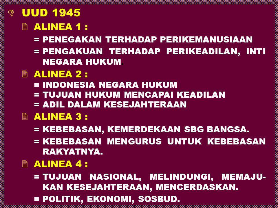  UUD 1945  ALINEA 1 : = PENEGAKAN TERHADAP PERIKEMANUSIAAN