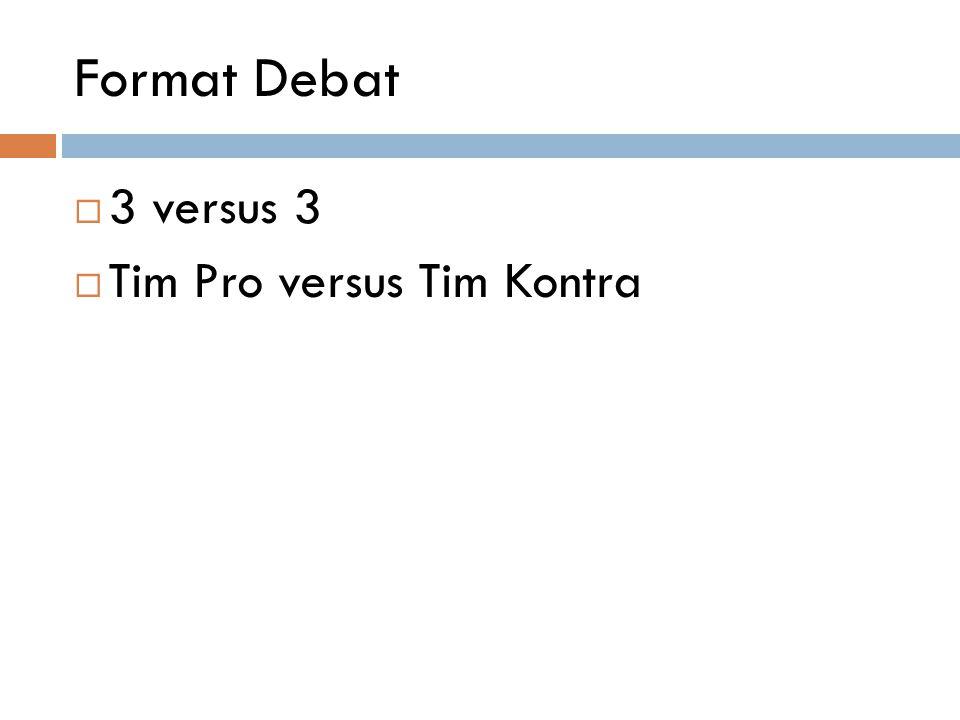 Format Debat 3 versus 3 Tim Pro versus Tim Kontra