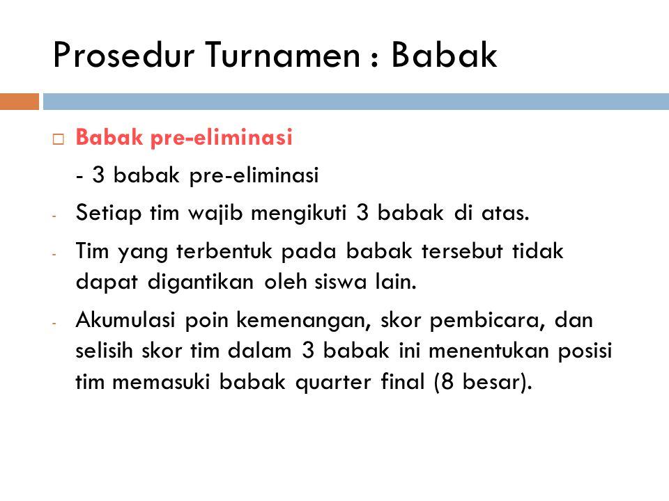 Prosedur Turnamen : Babak