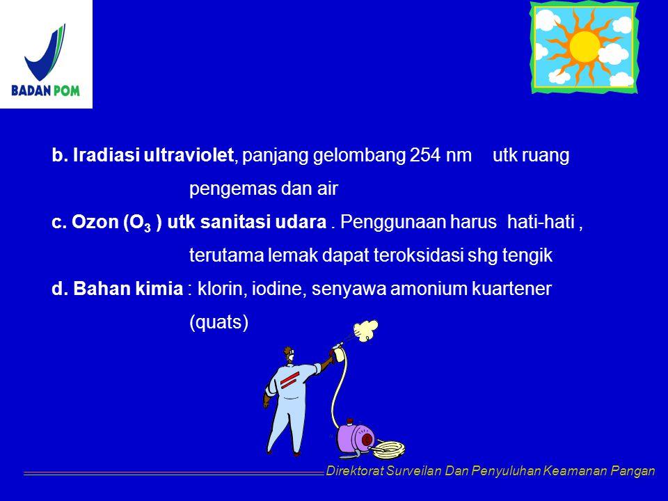 b. Iradiasi ultraviolet, panjang gelombang 254 nm utk ruang