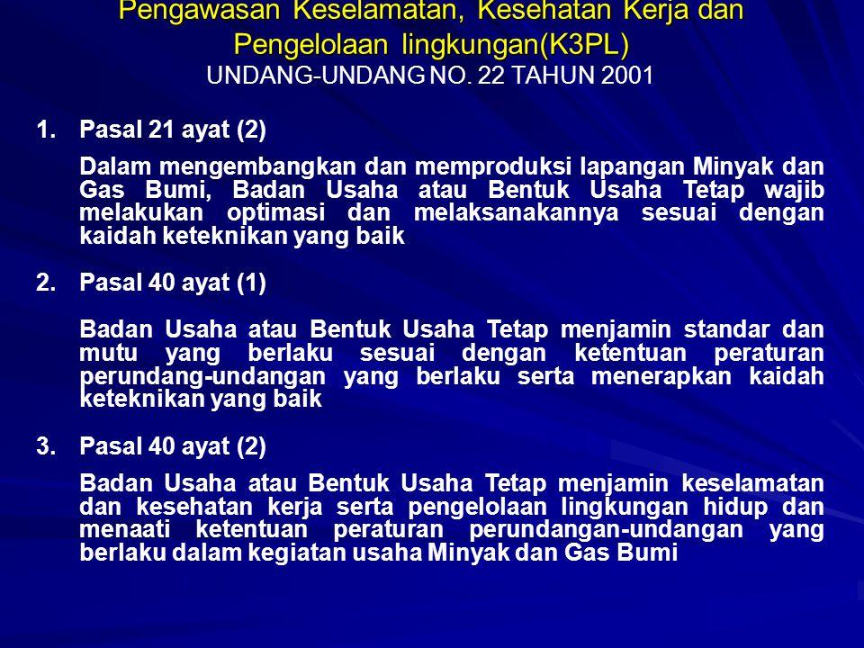 Pengawasan Keselamatan, Kesehatan Kerja dan Pengelolaan lingkungan(K3PL) UNDANG-UNDANG NO. 22 TAHUN 2001