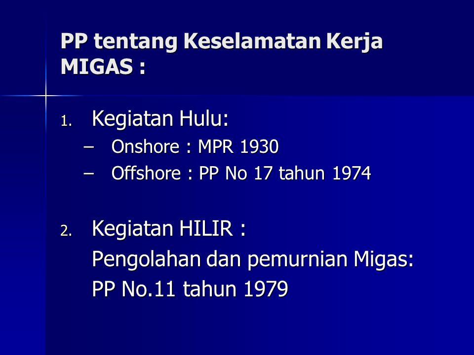 PP tentang Keselamatan Kerja MIGAS :