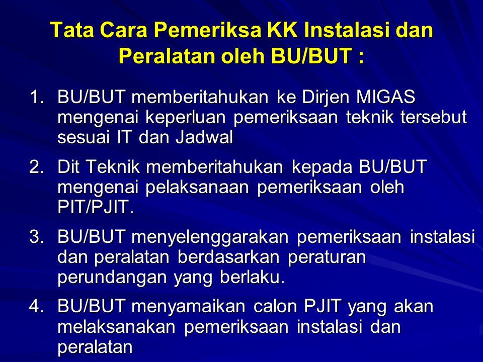 Tata Cara Pemeriksa KK Instalasi dan Peralatan oleh BU/BUT :