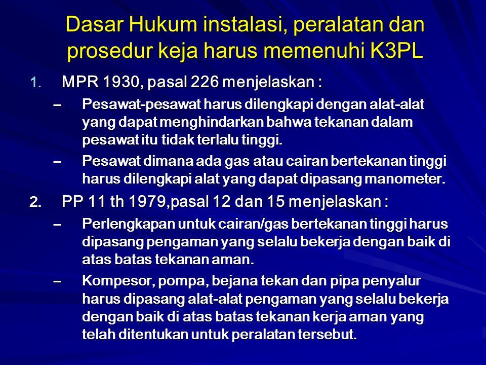 Dasar Hukum instalasi, peralatan dan prosedur keja harus memenuhi K3PL
