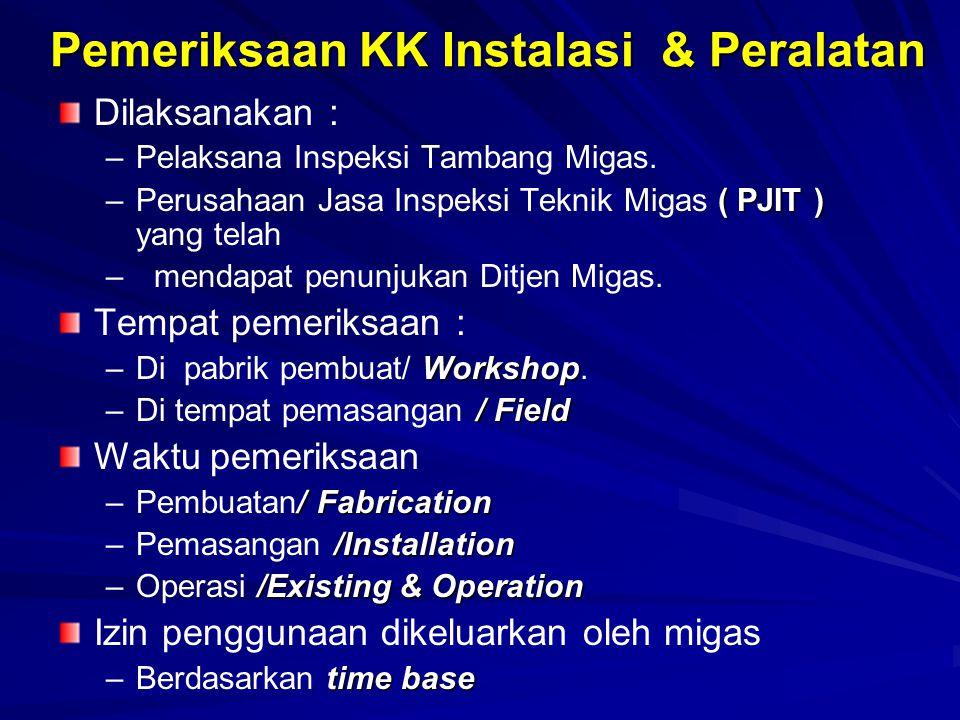 Pemeriksaan KK Instalasi & Peralatan