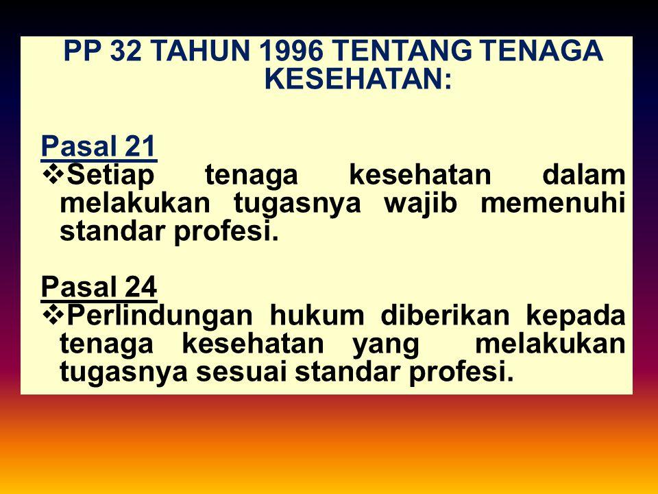 PP 32 TAHUN 1996 TENTANG TENAGA KESEHATAN: