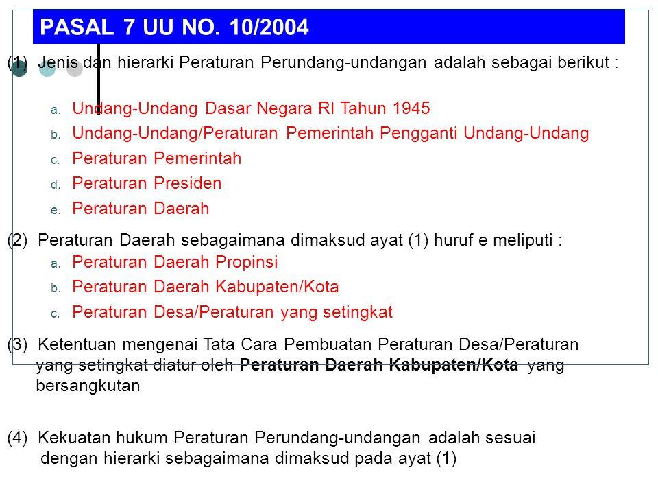 PASAL 7 UU NO. 10/2004 (1) Jenis dan hierarki Peraturan Perundang-undangan adalah sebagai berikut :