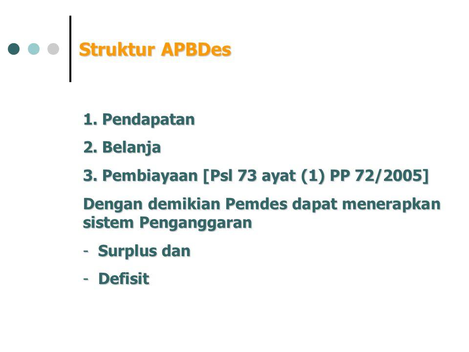 Struktur APBDes Pendapatan Belanja
