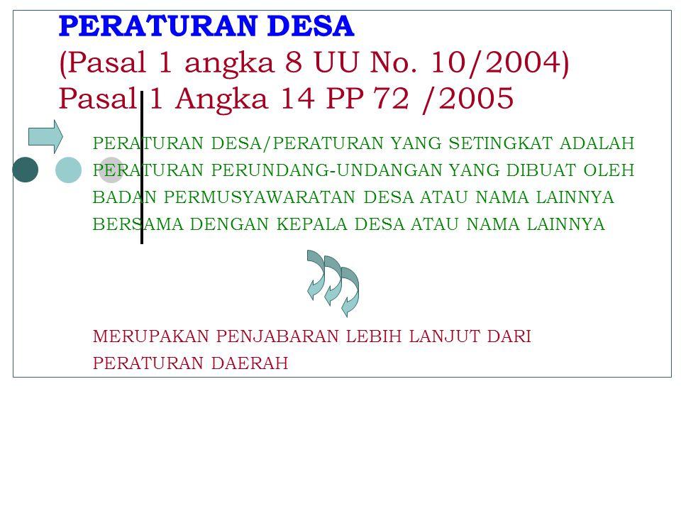 PERATURAN DESA (Pasal 1 angka 8 UU No