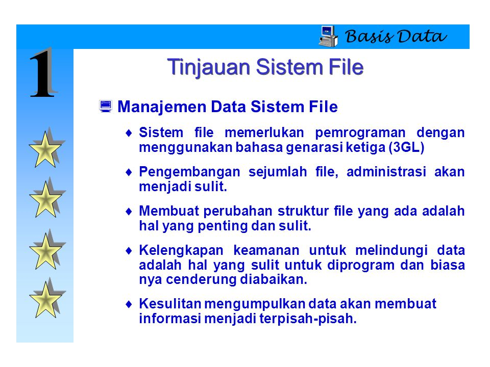 1 Tinjauan Sistem File Basis Data Manajemen Data Sistem File