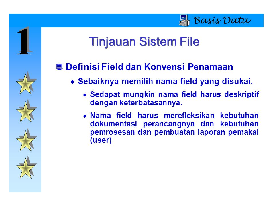 1 Tinjauan Sistem File Basis Data Definisi Field dan Konvensi Penamaan