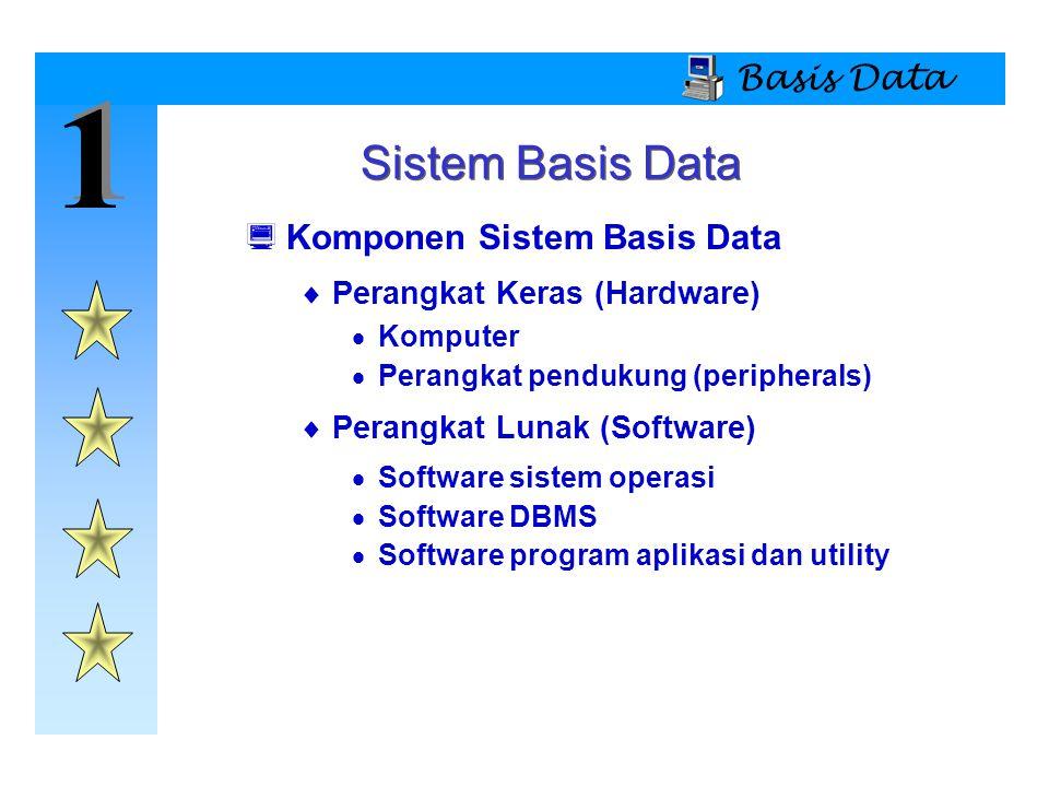 1 Sistem Basis Data Basis Data Komponen Sistem Basis Data