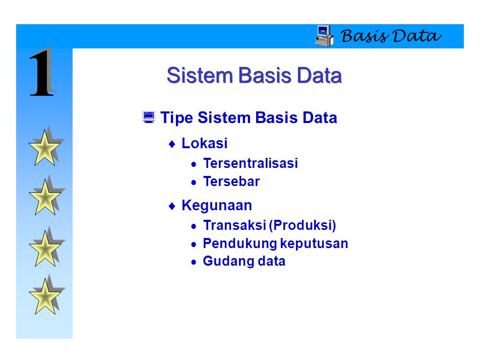 1 Sistem Basis Data Basis Data Tipe Sistem Basis Data Lokasi Kegunaan