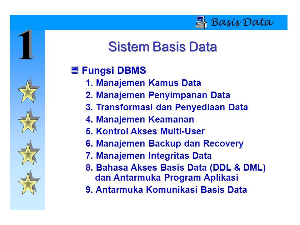 1 Sistem Basis Data Basis Data Fungsi DBMS 1. Manajemen Kamus Data