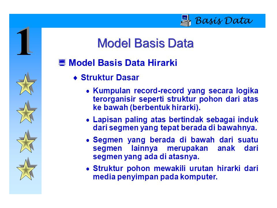 1 Model Basis Data Basis Data Model Basis Data Hirarki Struktur Dasar