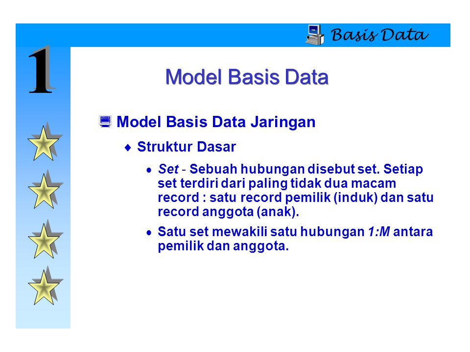 1 Model Basis Data Basis Data Model Basis Data Jaringan Struktur Dasar