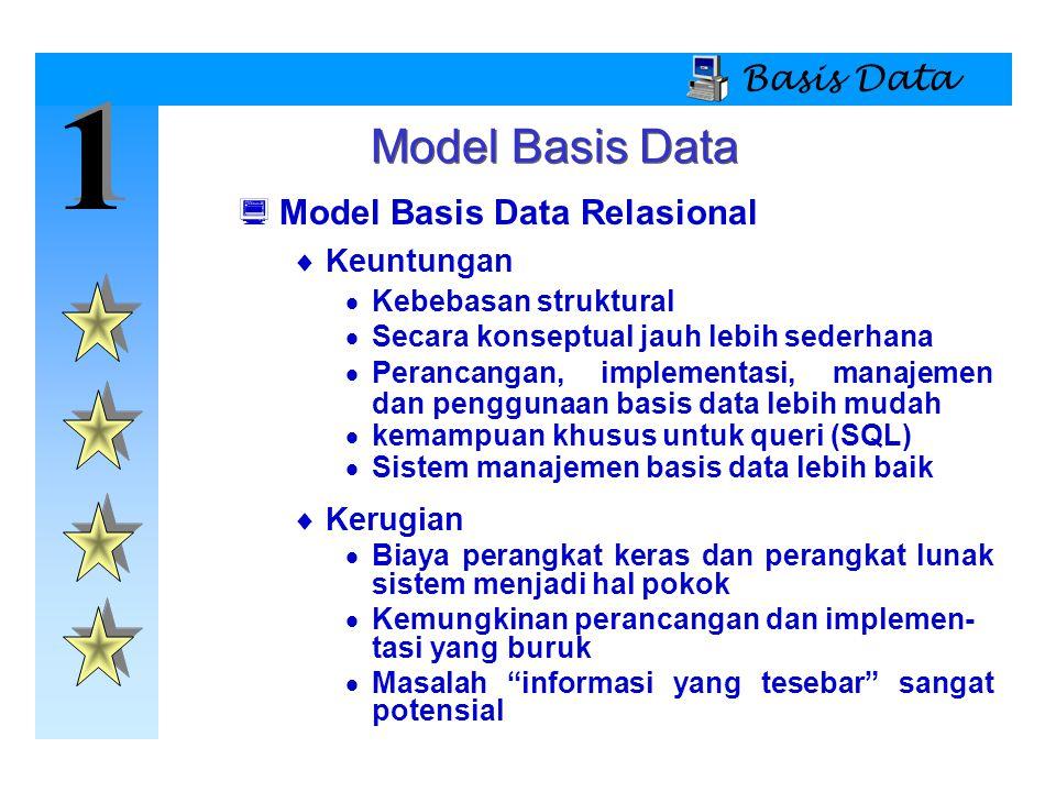 1 Model Basis Data Basis Data Model Basis Data Relasional Keuntungan