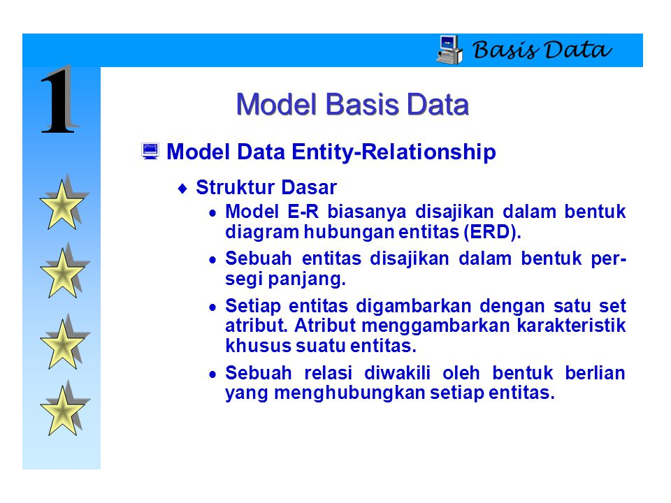 1 Model Basis Data Basis Data Model Data Entity-Relationship