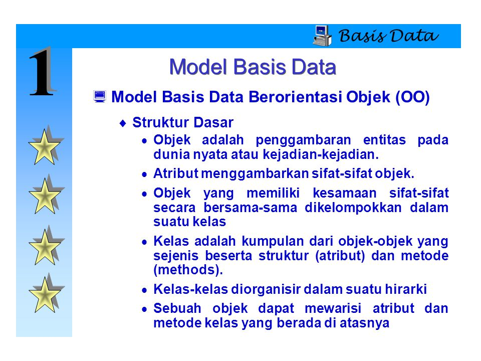 1 Model Basis Data Basis Data Model Basis Data Berorientasi Objek (OO)