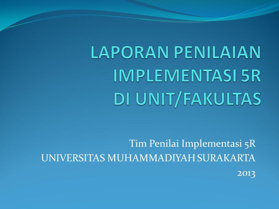 LAPORAN PENILAIAN IMPLEMENTASI 5R DI UNIT/FAKULTAS