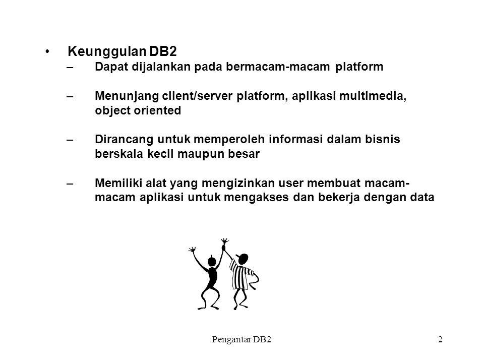 Keunggulan DB2 Dapat dijalankan pada bermacam-macam platform