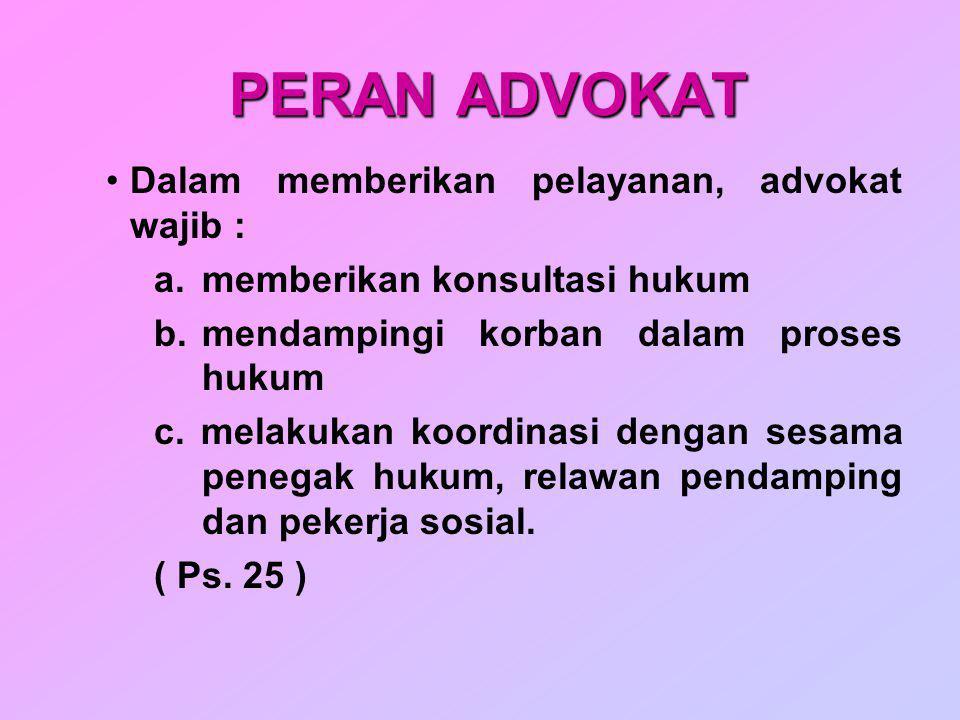 PERAN ADVOKAT Dalam memberikan pelayanan, advokat wajib :