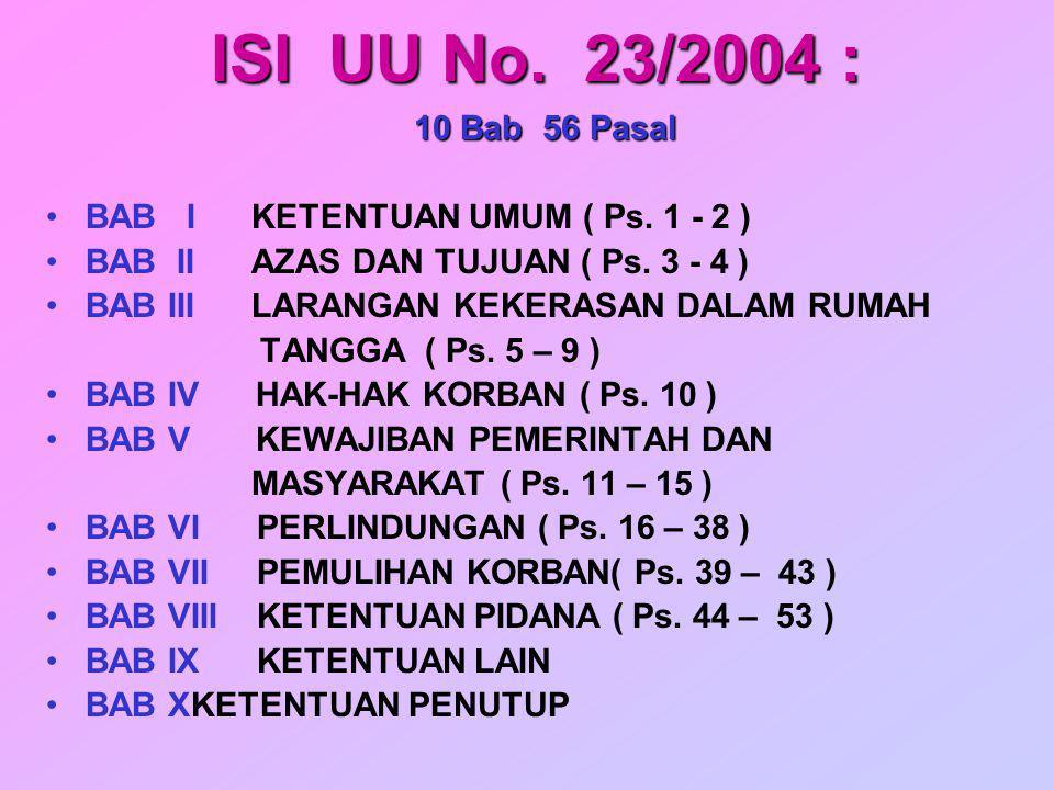 ISI UU No. 23/2004 : 10 Bab 56 Pasal. BAB I KETENTUAN UMUM ( Ps. 1 - 2 ) BAB II AZAS DAN TUJUAN ( Ps. 3 - 4 )