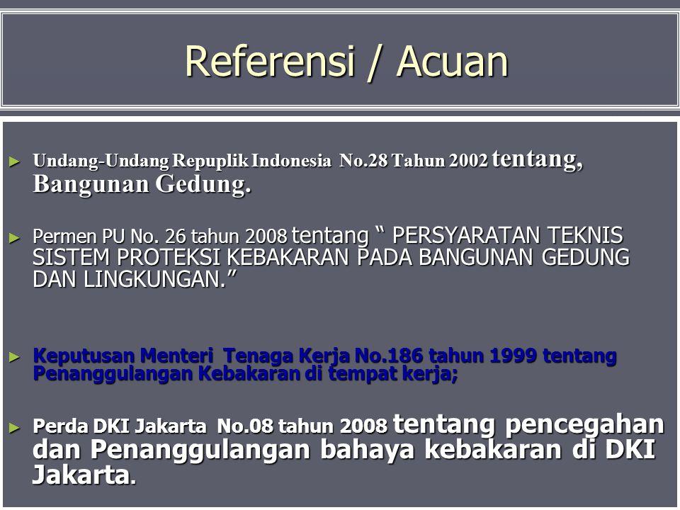 Referensi / Acuan Undang-Undang Repuplik Indonesia No.28 Tahun 2002 tentang, Bangunan Gedung.