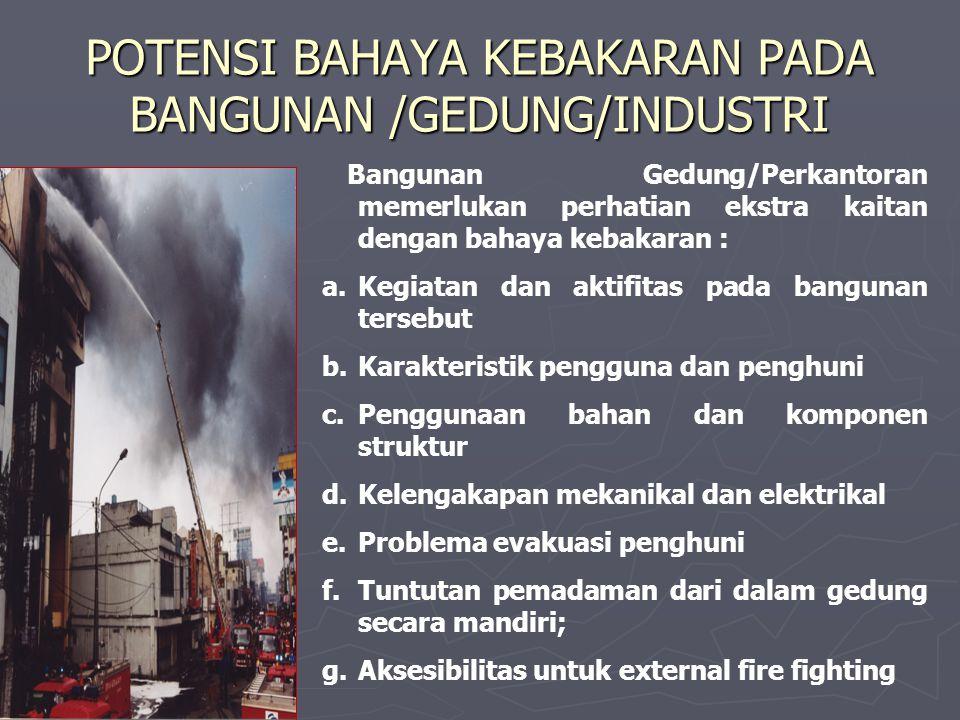 POTENSI BAHAYA KEBAKARAN PADA BANGUNAN /GEDUNG/INDUSTRI