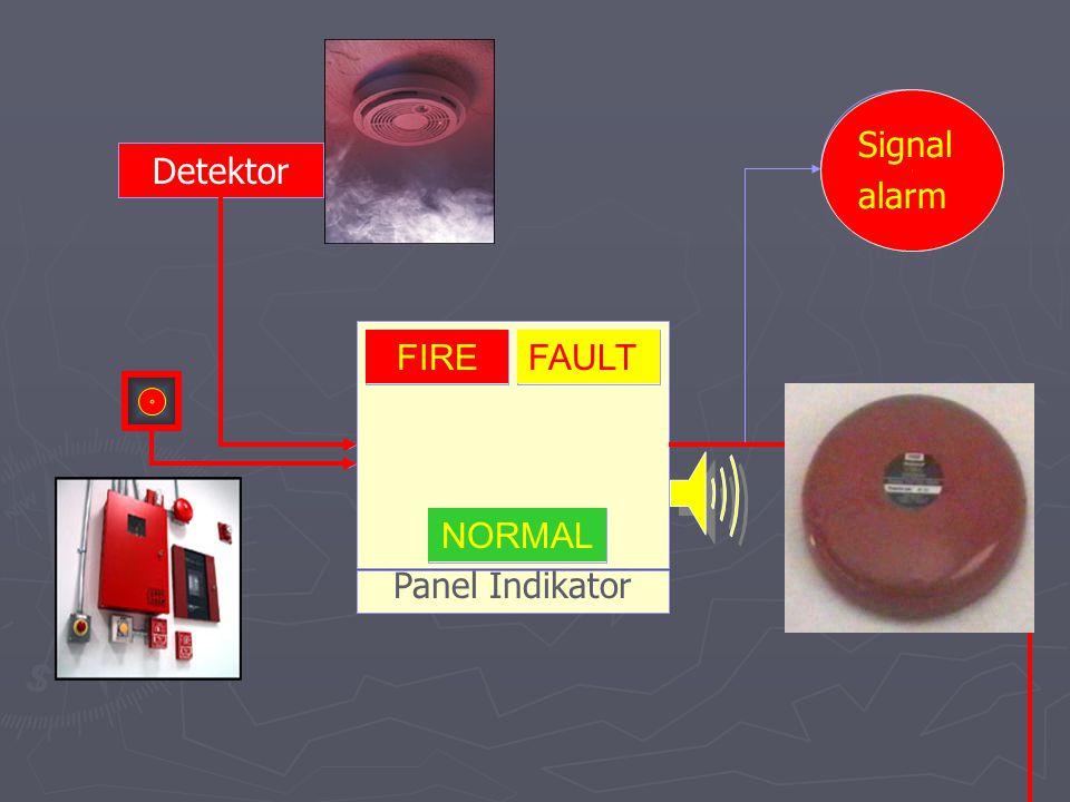 Signal alarm Signal alarm Detektor Detektor Panel Indikator FIRE FIRE FAULT FOULT NORMAL NORMAL