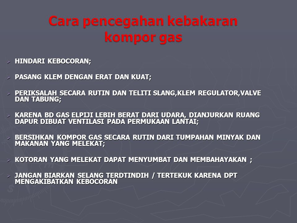 Cara pencegahan kebakaran kompor gas