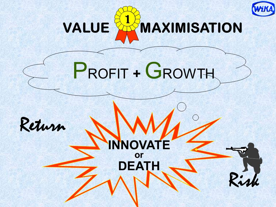 1 VALUE MAXIMISATION PROFIT + GROWTH Return INNOVATE or DEATH Risk