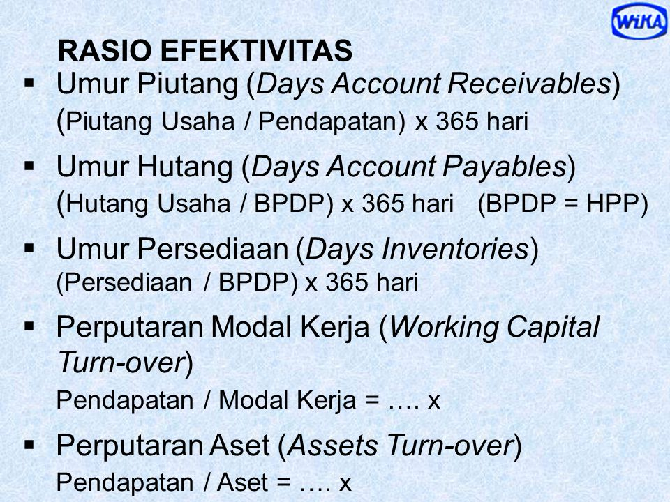 Umur Piutang (Days Account Receivables)