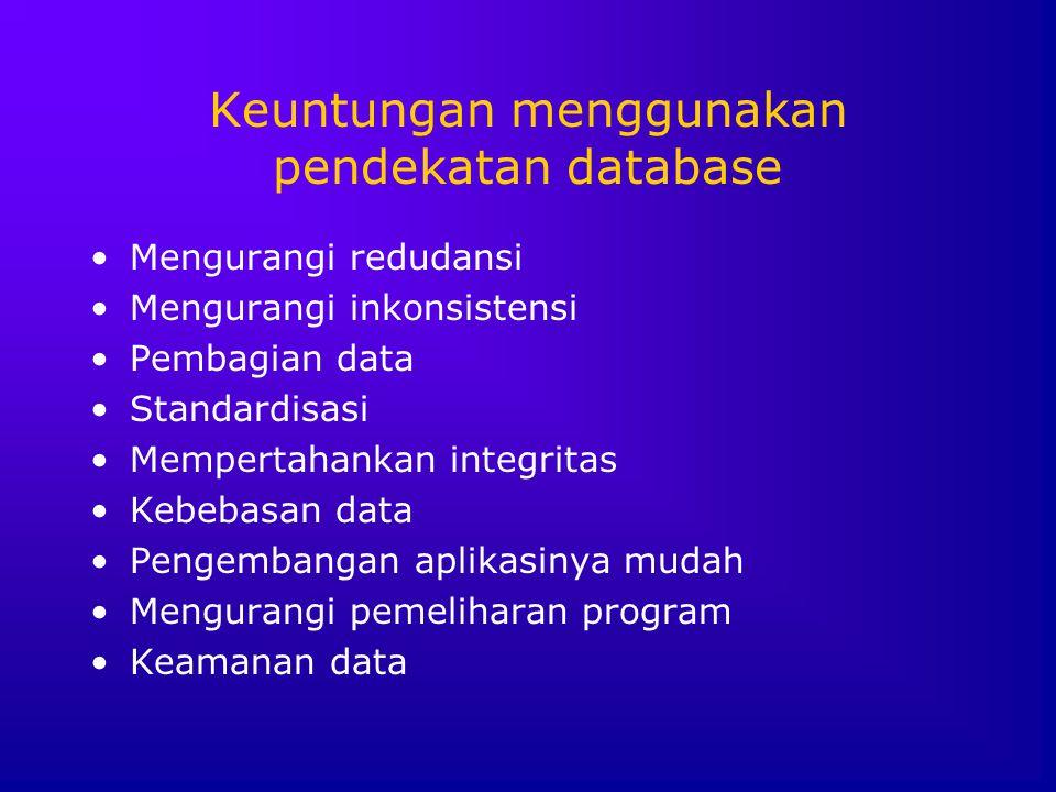 Keuntungan menggunakan pendekatan database