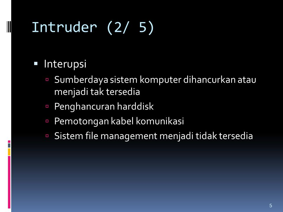 Intruder (2/ 5) Interupsi