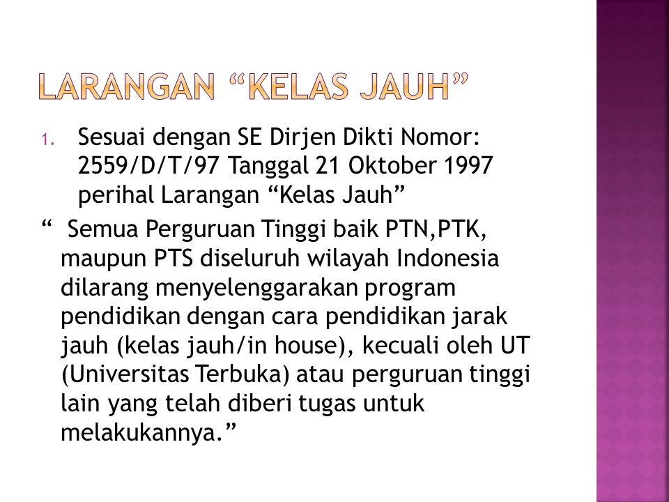 Larangan Kelas Jauh Sesuai dengan SE Dirjen Dikti Nomor: 2559/D/T/97 Tanggal 21 Oktober 1997 perihal Larangan Kelas Jauh