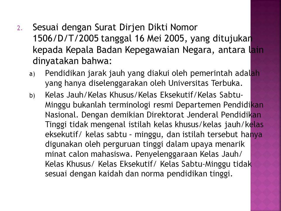 Sesuai dengan Surat Dirjen Dikti Nomor 1506/D/T/2005 tanggal 16 Mei 2005, yang ditujukan kepada Kepala Badan Kepegawaian Negara, antara lain dinyatakan bahwa: