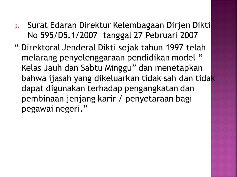 Surat Edaran Direktur Kelembagaan Dirjen Dikti No 595/D5