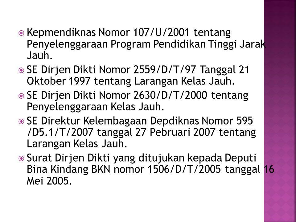 Kepmendiknas Nomor 107/U/2001 tentang Penyelenggaraan Program Pendidikan Tinggi Jarak Jauh.