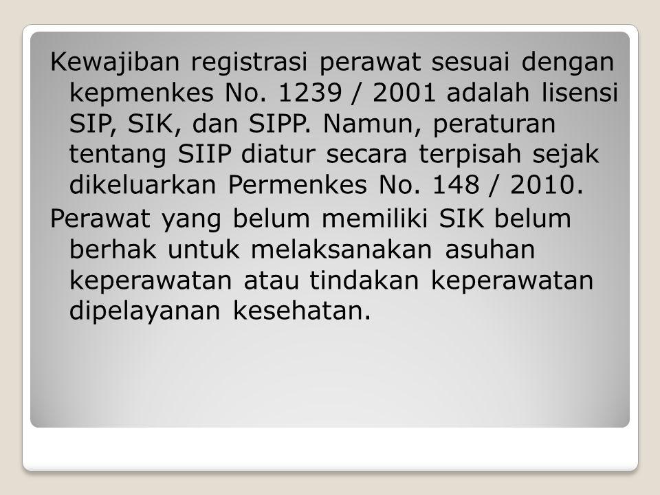 Kewajiban registrasi perawat sesuai dengan kepmenkes No