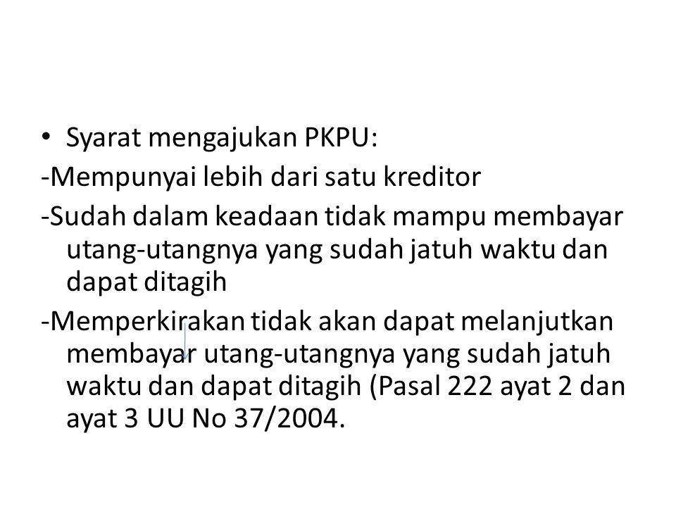 Syarat mengajukan PKPU: