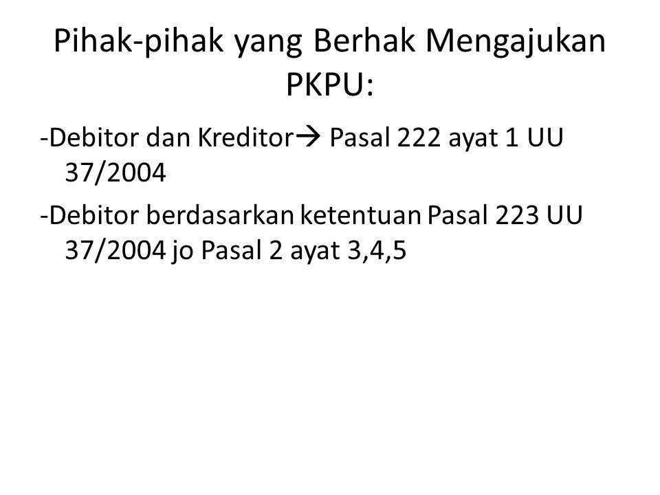 Pihak-pihak yang Berhak Mengajukan PKPU: