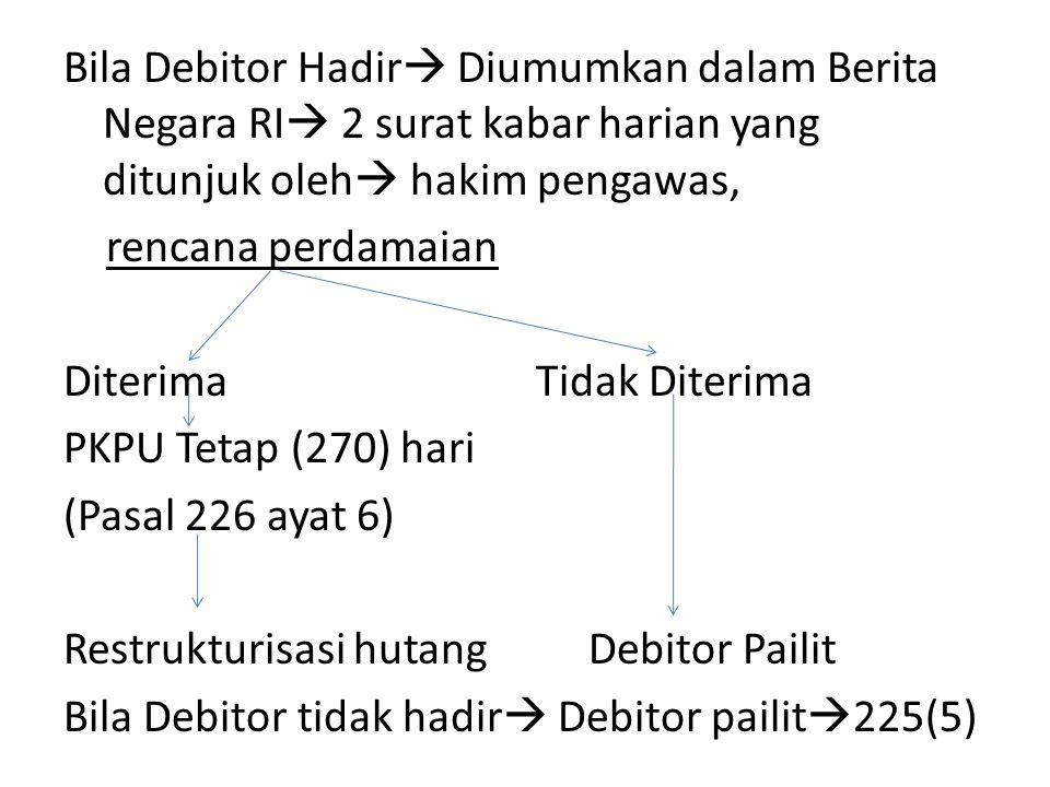 Bila Debitor Hadir Diumumkan dalam Berita Negara RI 2 surat kabar harian yang ditunjuk oleh hakim pengawas, rencana perdamaian Diterima Tidak Diterima PKPU Tetap (270) hari (Pasal 226 ayat 6) Restrukturisasi hutang Debitor Pailit Bila Debitor tidak hadir Debitor pailit225(5)