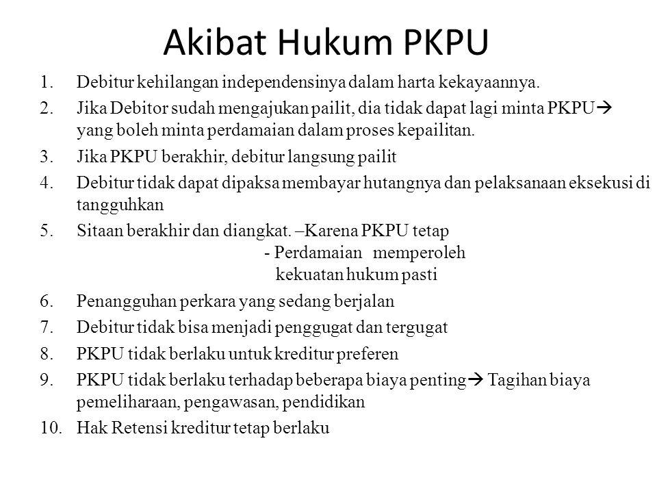 Akibat Hukum PKPU Debitur kehilangan independensinya dalam harta kekayaannya.