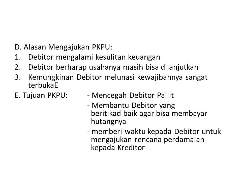 D. Alasan Mengajukan PKPU: