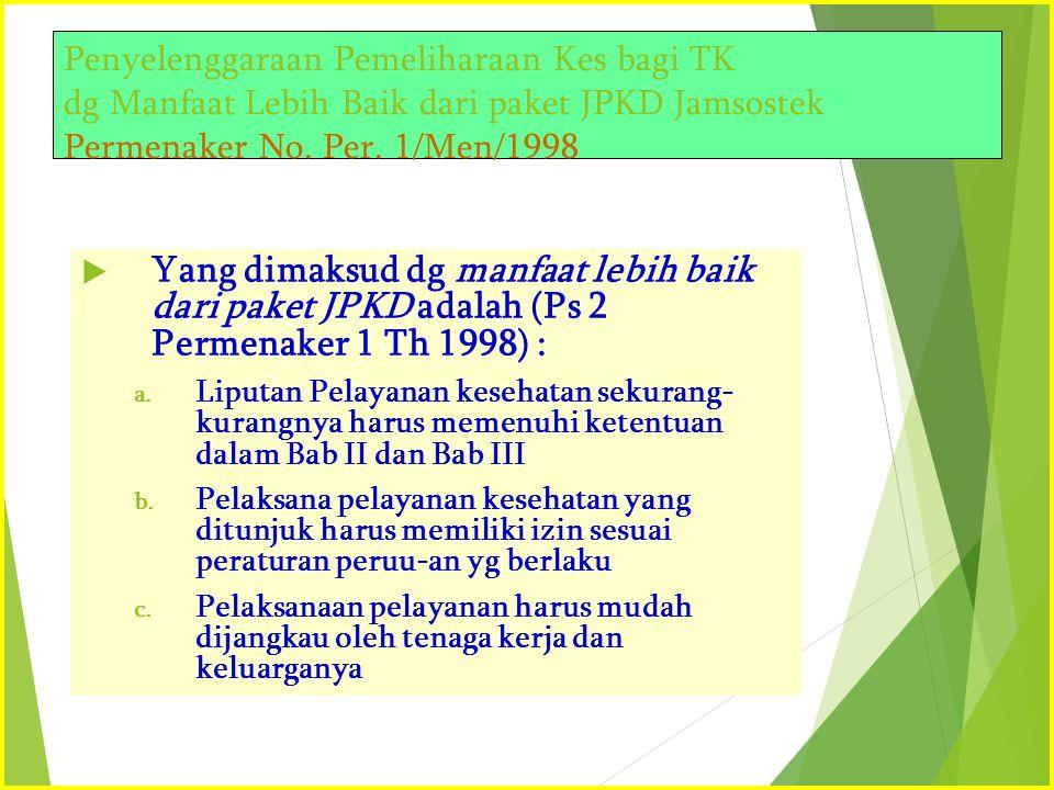 Penyelenggaraan Pemeliharaan Kes bagi TK dg Manfaat Lebih Baik dari paket JPKD Jamsostek Permenaker No. Per. 1/Men/1998