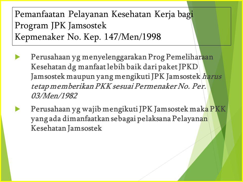 Pemanfaatan Pelayanan Kesehatan Kerja bagi Program JPK Jamsostek Kepmenaker No. Kep. 147/Men/1998