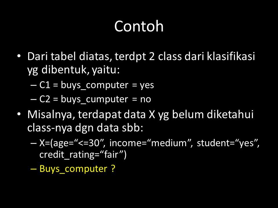 Contoh Dari tabel diatas, terdpt 2 class dari klasifikasi yg dibentuk, yaitu: C1 = buys_computer = yes.